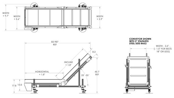 Horizontal-Incline Aluminum Conveyor Reference Dimensions