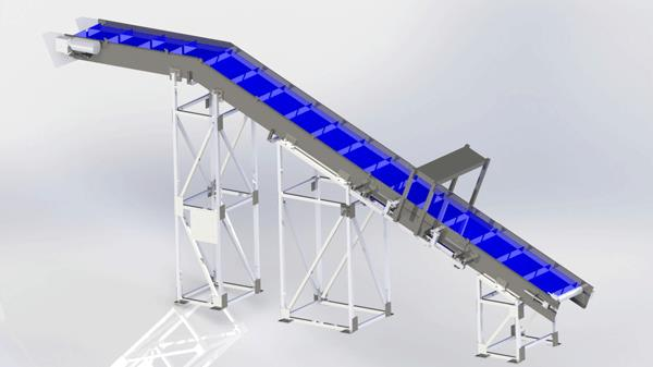Horizontal-Decline Steel Conveyor Rendering